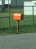 The office's mailbox was mysteriously painted orange. Photo: Ashita Gona.