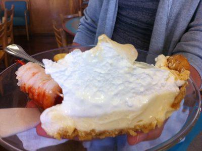 Lemon pie with a crust made of Ritz crackers is a popular dessert at sine coastal North Carolina seafood restaurants. Photo: Liz Biro