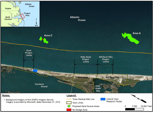 Shown are the general site location, inset, as well as the sand source areas, project limits and municipal boundaries. Image: BOEM