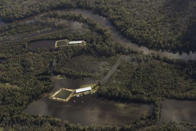 Hog-waste lagoons near the swollen Neuse River near Goldsboro were among the environmental concerns following Hurricane Matthew. Photo: Rick Dove, Waterkeeper Alliance Inc.
