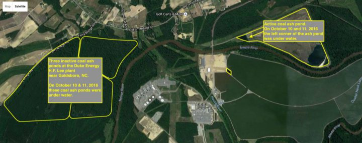 This annotated historical photo shows the locations of active and inactive coal ash ponds at the H.F. Lee plant on the Neuse River. Photo: Waterkeeper Alliance