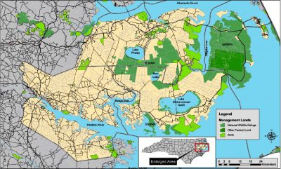 At the height of the program, about 10 years ago, about 130 red wolves roamed their native habitats in Hyde, Dare, Tyrrell, Washington and Beaufort counties. Map: U.S. Fish and Wildlife