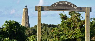 """The lighthouse at Bald Head Island is also known as """"Old Baldy."""" Photo: Gareth Rasberry/Wikipedia"""
