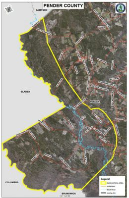 The yellow border denotes the mandatory evacuation area of the Black River basin in western Pender County. Map: Pender County Emergency Management