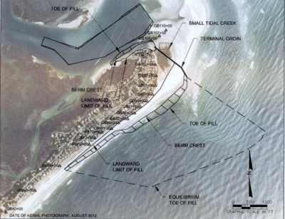 Shown is the proposed terminal groin and associated beach fill from the environmental study for the Figure Eight Island project. Photo: Army Corps of Engineers