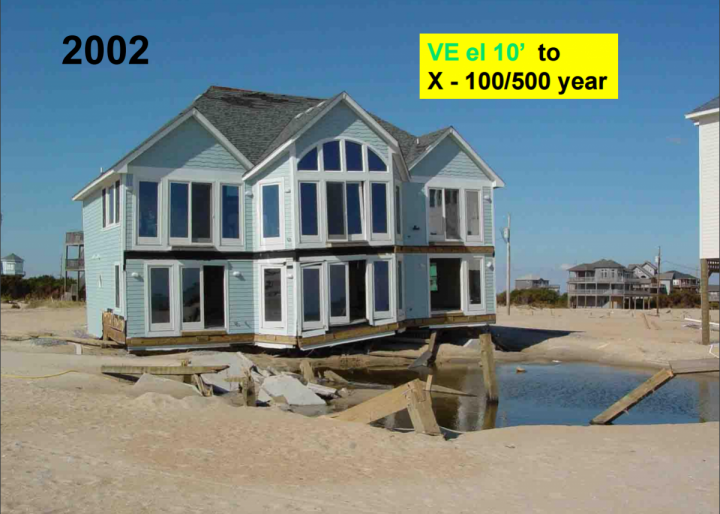 In this slide from Spencer Rogers' PowerPoint, a home built in 2002 in Hatteras Village is shown after being knocked off its foundation by flooding during Hurricane Isabel in 2003. The existing rate map designates this as a high-risk VE zone, with a base flood elevation of 10 feet. The new preliminary maps would remove this location from the floodplain altogether. Photo: Coastal Resources Advisory Council