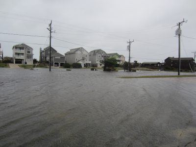 The Beach Road along the oceanfront in Nags Head is flooded Oct. 9 after Hurricane Matthew turned offshore. Photo: Catherine Kozak