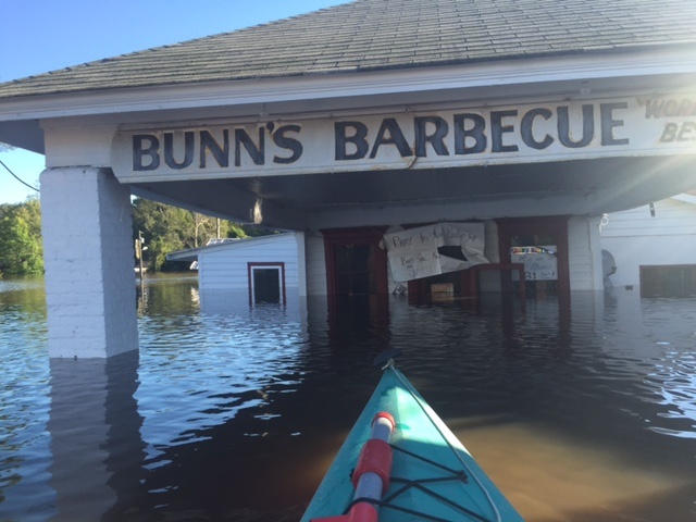 Bunn's Barbecue, a local establishment that opened in 1938 and help put Windsor on the map, is inundated again. Contributed Photo by Scott Sauer
