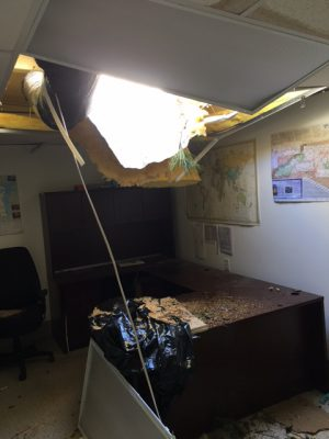 Tyrrell County's Department of Social Services building shows damage from Hurricane Matthew. Contributed photo by David Clegg