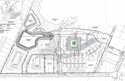 The developer plans to build about 62,200 square feet of commercial and retail space including a grocery store, a restaurant and additional retail shops. Four outparcels are also planned. Source: Army Corps of Engineers