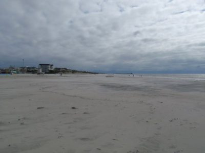This view of the beach in Atlantic Beach shows noticeable beach flattening as a result of the storm. Photo: Carteret County Shore Protection Office