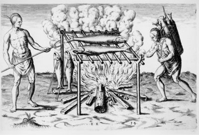 """""""The brovvyllinge of their fishe ouer the flame,"""" engraving by Theodor De Bry, printed 1590, based on watercolor by John White, 1585-1586. Source: John Carter Brown Library at Brown University"""
