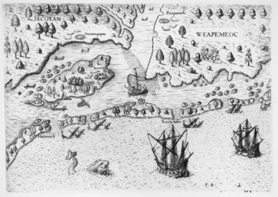"""""""The arriual of the Englishemen in Virginia,"""" engraving by Theodor De Bry, printed 1590, based on maps by John White and Thomas Hariot, 1585-1586. Source: John Carter Brown Library at Brown University"""