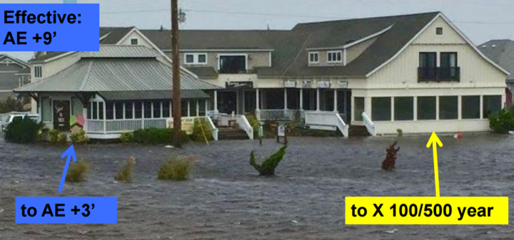 Two structures on the Outer Banks flooded during Tropical Storm Hermine earlier this year are shown as compared with effective and proposed new flood zones. Photo: Outer Banks Voice, with labels by Spencer Rogers