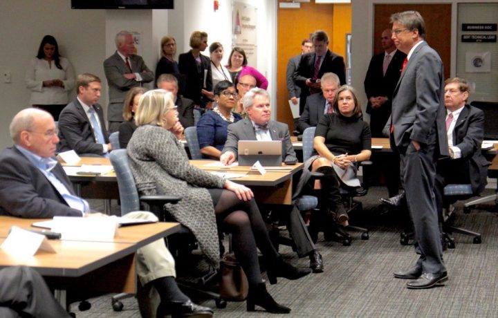 Gov. Pat McCrory speaks during a briefing of the Hurricane Matthew Recovery Committee earlier this week at the state Emergency Management Center. Photo: Kirk Ross