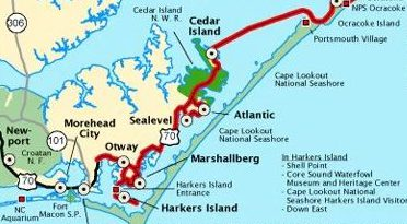 The southern entrance to the Outer Banks Scenic Byway is just north of Beaufort, where the red line begins, and continues through Down East communities, including Otway, Sealevel and Cedar Island, across Pamlico Sound to Ocracoke and then north along the Outer Banks. Map: Scenic Byway Committee