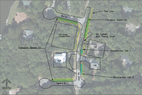 This graphic shows the plans for Pine Knoll Shores BMPs. It was created by Tillett, who worked closely with Sneeden and the town. Photo: Bree Tillett