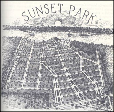 Marketing art for Sunset Park illustrates the origins of the housing development's name. Source: New Hanover County Public Library