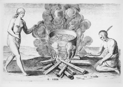 """""""Their seetheynge of their meate in earthen pottes,"""" engraving by G. Veen (1590), based on John White watercolor, 1585-1586. Source: John Carter Brown Library at Brown University"""