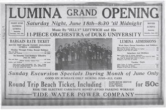 The Lumina Pavilion opened in 1905 and remained an entertainment attraction until 1952. This advertisement from the Wilmington Star announces the 1932 season. Source: New Hanover County Public Library