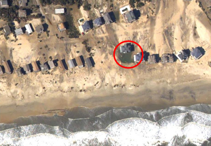 Oceanfront homes on Hatteras Island were flooded or destroyed in 2002 in an area that is proposed as an X flood zone, or outside the 500-year floodplain. Photo: Courtesy Spencer Rogers