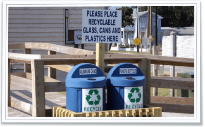 Recycling materials receptacles are placed at parks in Morehead City. Photo: Morehead City Public Works