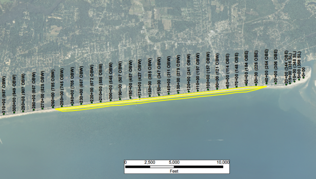 Using offshore sand, the project will place about 1.31 million cubic yards along 4.1 miles of shoreline in the middle of the island. Source: Holden Beach