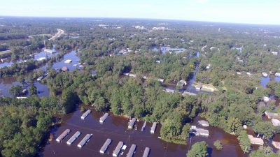 Congress secured $300 million in federal aid to assist with Hurricane Matthew recovery. Flooding, such as this scene in Princeville, led to $1.5 billion in damages, state officials said. Photo: Department of Public Safety