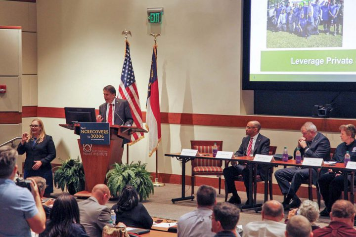 Gov. Pat McCrory speaks Wednesday during the Hurricane Matthew Recovery Committee's fourth regional meeting in Greenville. Photo: Department of Public Safety