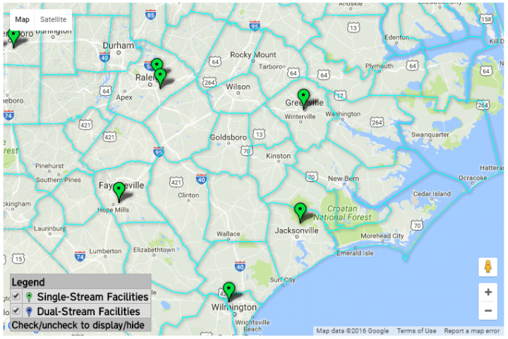 Shown are locations of recycling material recovery centers in eastern North Carolina. Source: Department of Environmental Quality