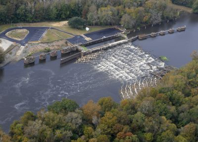 An aerial view of the rock arch rapids at Lock and Dam No. 1. Photo: Alan Cradick