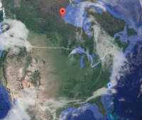 Churchill, marked in red, is on Hudson Bay in the far north of Manitoba, Canada. Map: Google