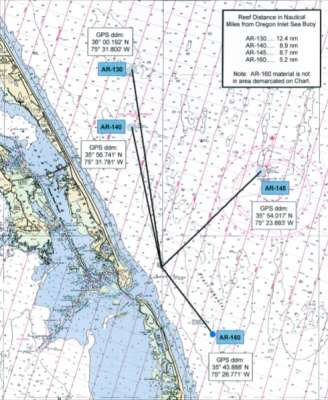 Currently, there are four artificial reefs in waters north of Cape Hatteras. Map: Division of Marine Fisheries