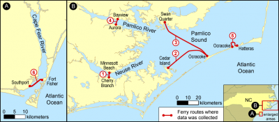 FerryMon has equipped two state ferries, the M/V Floyd J Lupton and the M/V Carteret. The M/V Floyd J Lupton primarily operates along the Neuse River, route No. 1, but recently has traversed the Pamlico River, route No. 4, the Hatteras to Ocracoke route, No. 5, and the Fort Fisher to Southport route, No. 6. The M/V Carteret primarily operates along the Cedar Island to Ocracoke route, No. 2, but also operates along the Swan Quarter to Ocracoke route, No. 3. Source: UNC