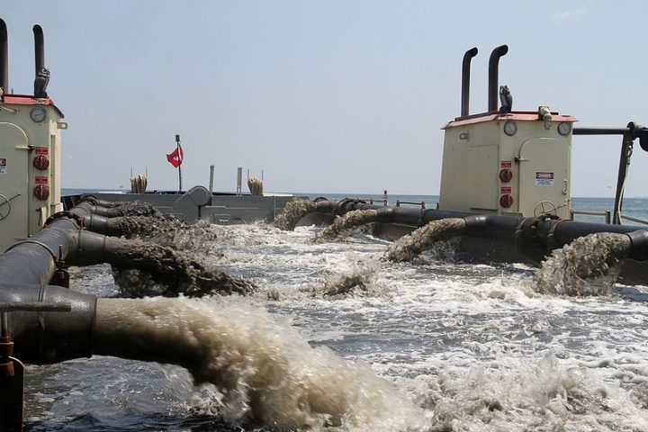Pumps from the Army Corps of Engineers' hopper dredge Currituck, based in Wilmington, filter sand. Photo: Army Corps of Engineers