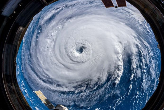 Panoramic view of  Hurricane Florence Sept. 10, 2018, when the hurricane was at Category 4 strength as captured by International Space Station Astronaut Alexander Gerst.