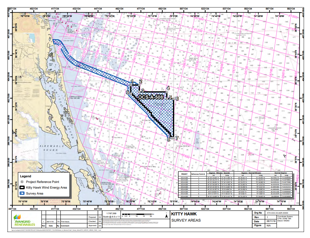 The Kitty Hawk wind energy area covers 122,405 acres about 24 nautical miles off the N.C. coast. Map: BOEM