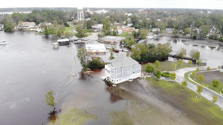 An aerial view flooding in Jacksonville in 2019. Photo: City of Jacksonville