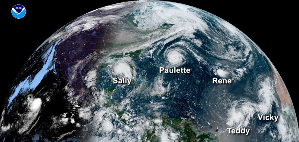 Five named storms during the 2020 Atlantic hurricane season. Image: NOAA