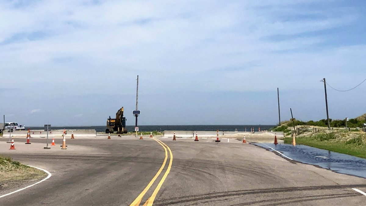 The stacking lanes at South Dock have been eroded so badly they can't be used. Vehicles have to line up along N.C. 12. Photo: C. Leinbach