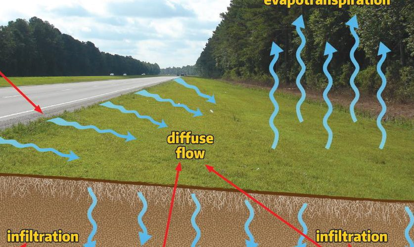 This North Carolina Department of Transportation illustration shows how maximizing the shoulder section of roadways provides numerous benefits, such as reducing runoff volume and improving water quality.
