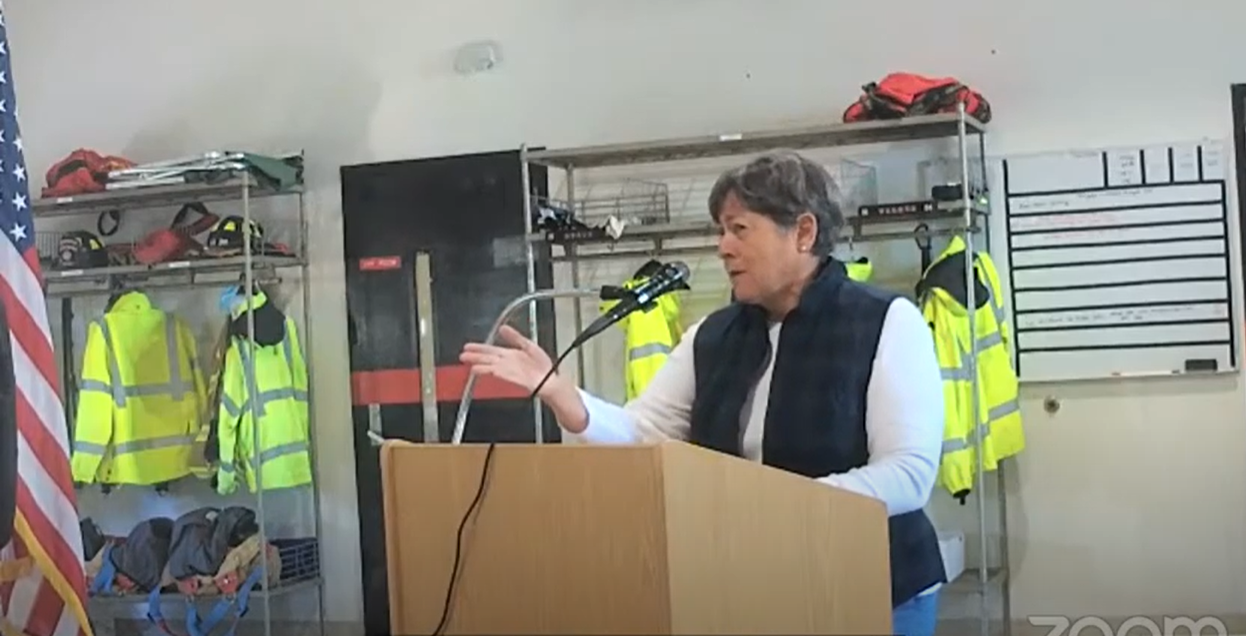 Property owner Becky Dickson speaks Saturday in this screen grab from the video of North Topsail Beach's public hearing on proposed municipal service districts to pay for a joint beach project.
