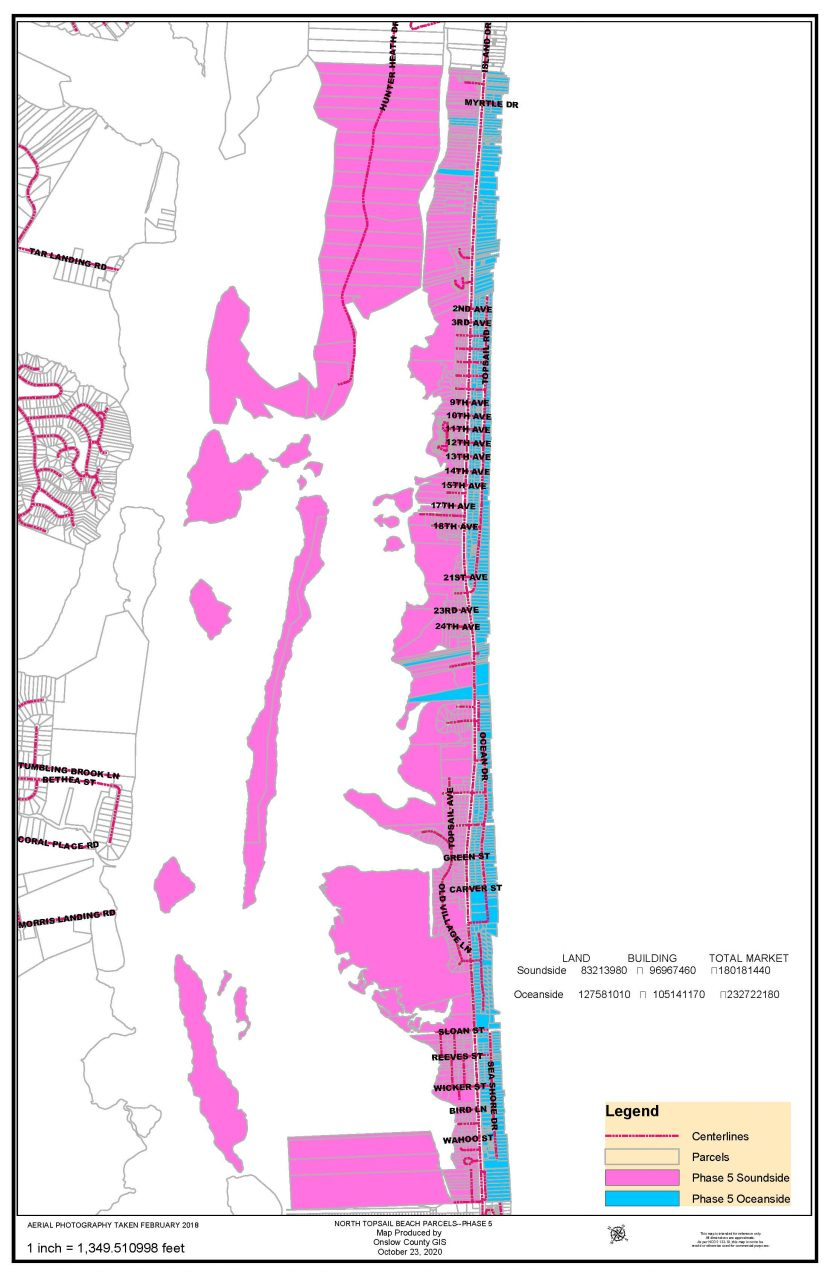 This handout map from the town shows the oceanside and soundside parcels in the proposed Phase 5 service district.