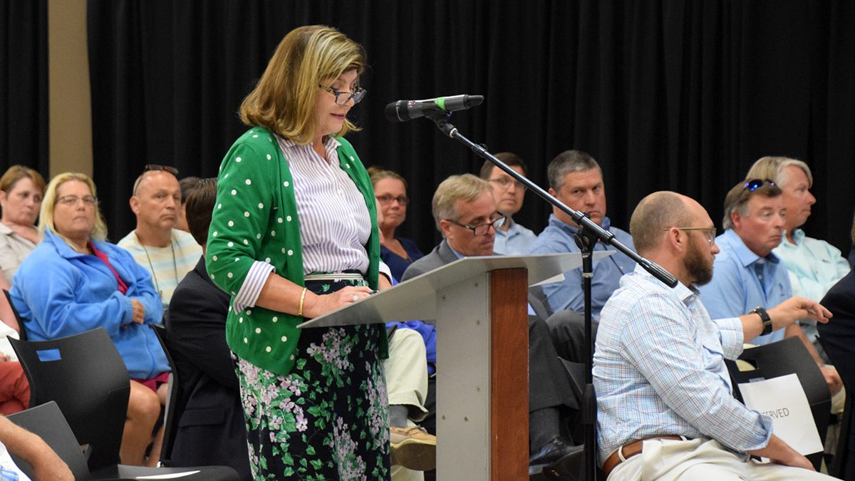 Nancy Fish of Morehead City addresses the city council on behalf of the Neighborhood Coalition Against Rezoning Hwy. 24 during a public hearing Wednesday. Photo: Jennifer Allen