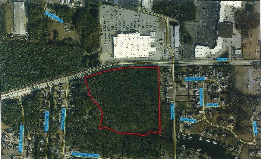 The decision changes the above parcel on N.C. 24 from single-family residential to highway commercial-conditional zoning and multi-family residential to allow for a boat dealership and independent-living facility for seniors. Photo: Morehead City