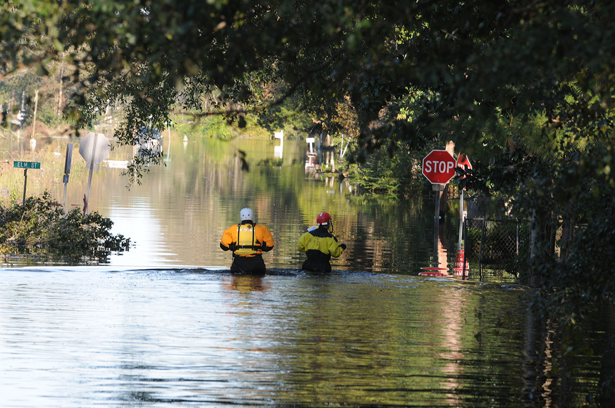North Carolina National Guard soldiers are shown responding in floodwaters after Hurricane Matthew in 2016. Photo: U.S. Army National Guard Sgt. Leticia Samuels