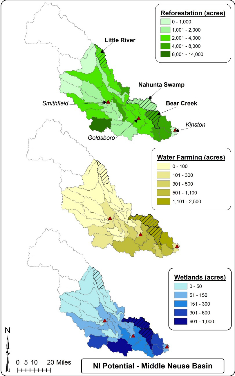 Opportunity for reforestation, water Farming and wetlands within the study area of the middle-Neuse basin. Source: Project summary report