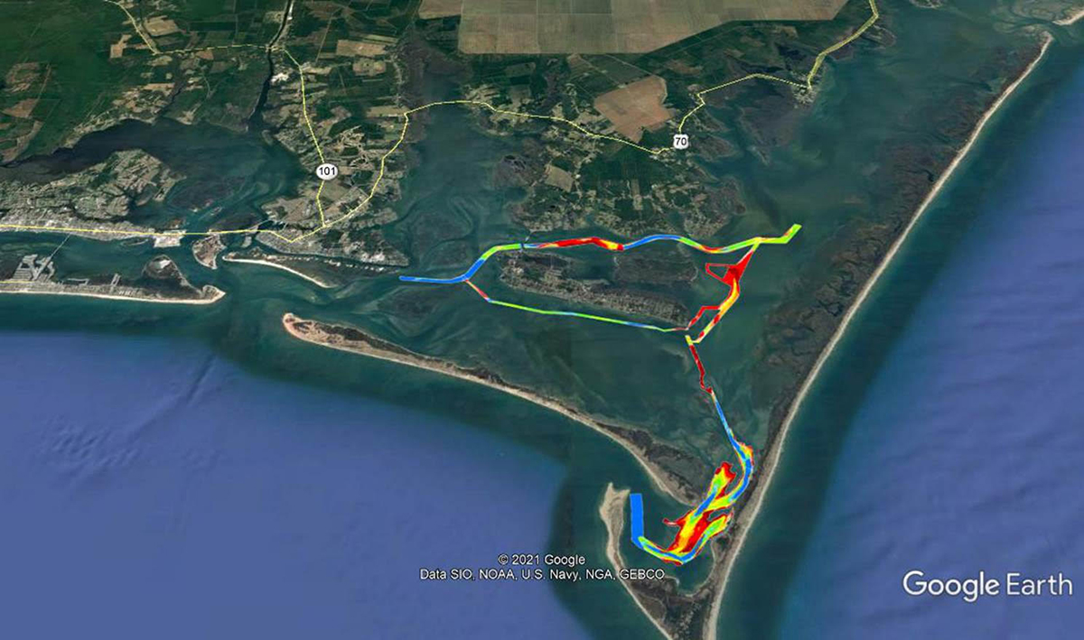 Waterways around Harkers Island and the channel from Harkers Island to Cape Lookout are shown in Corps of Engineers surveys overlaid Google Earth imagery provided by Carteret County's Shoreline Protection Office. Map: Google et al.