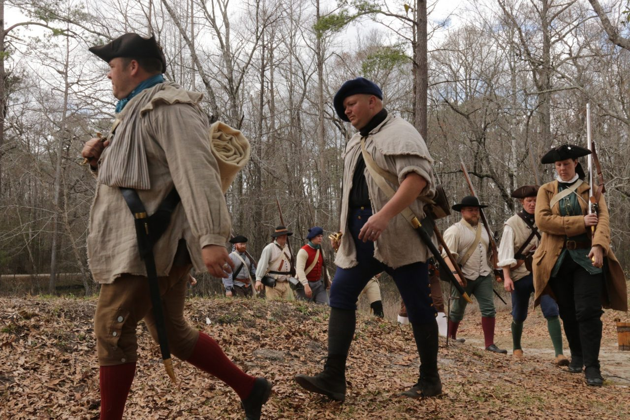 Mecklenburg militia members march during a Moores Creek National Battlefield anniversary event. Photo: National Park Service