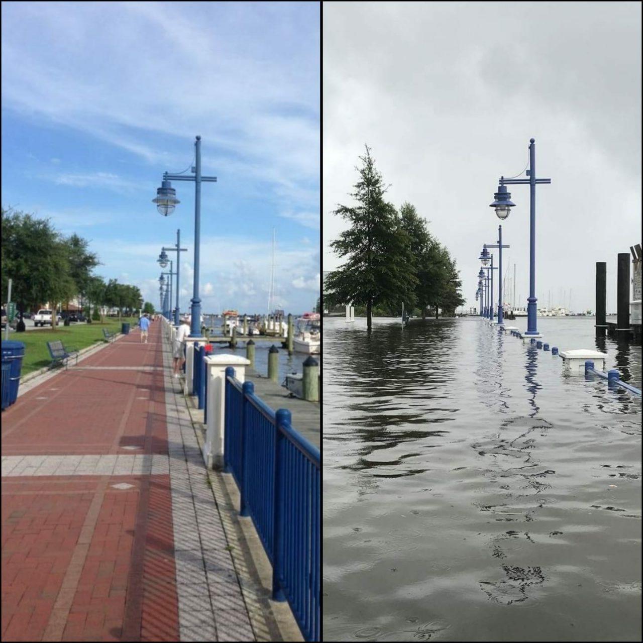 Washington waterfront before flooding, left, and after flooding. Photo: Washington NC